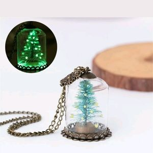 Dome Mini Christmas tree glass  necklace.